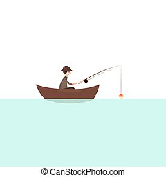 Fisherman with boat. Vector illustration. Blue River.