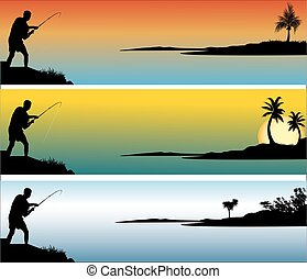 fisherman with  different background colors