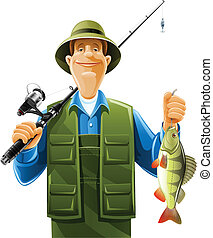 fisherman with rod spinning and fish vector illustration isolated on white background