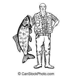 Fisherman with fish vector illustration