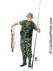Fisherman with his catch - Full length portrait of a young...