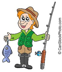Fisherman with rod - isolated illustration.