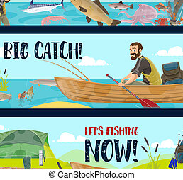 Fisherman with rods, tackles and fish catch