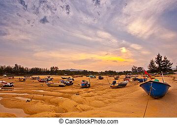fisherman's , βάρκα , malaysian , ηλιοβασίλεμα