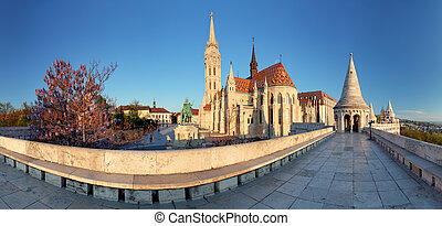 Fishermans Bastion and church in Budapest, Hungary -...