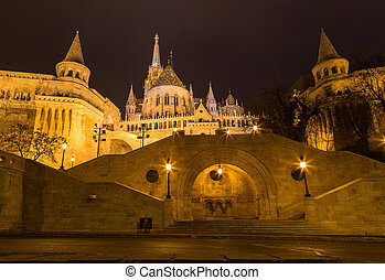 Fisherman's Bastion Hungary Budapest at night