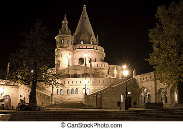 Fisherman's bastion night view, Budapest