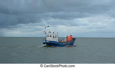 fishermans boat  in the sea