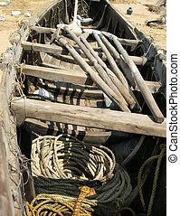 fisherman`s boat on the sand beach. Kerala, South India