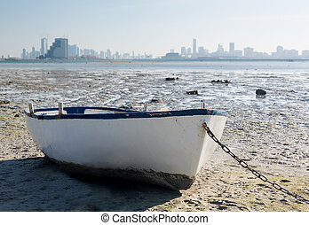 Fishermans boat on waterfront in Bahrain