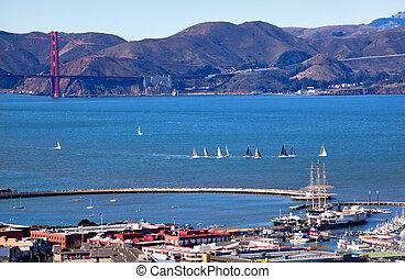 Fisherman's Wharf Golden Gate Bridge Sailboats from Coit Tower San Francisco California on Telegraph Hill.