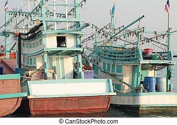 Fishermen boat on the sea
