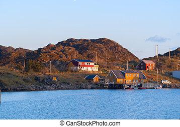 Fishermen houses on the banks of the Norwegian island Skrova