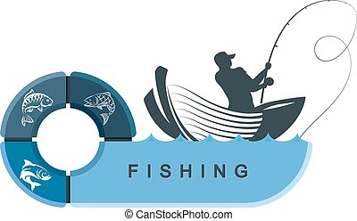 Fishermen in a boat with infographics