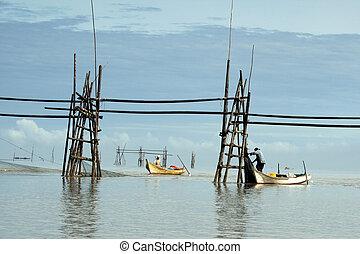 Fishermen in Bako - Fishermen setting up nets across the ...
