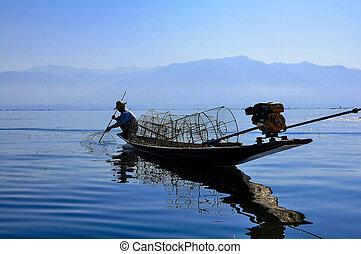 Fishermen in Inle lakes, Myanmar