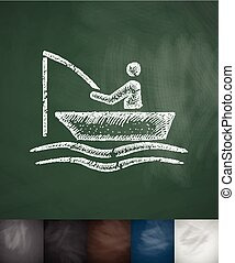 Fishermen on a boat icon. Hand drawn vector illustration....