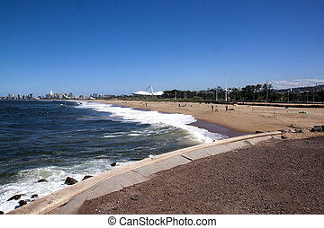 Fishermen on Beach Against Durban City Skyline - View of...