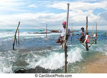 Fishermen on stick - Local fishermen on stick in indian ...
