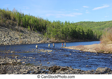 Fishermen on the River Chulman in South Yakutia