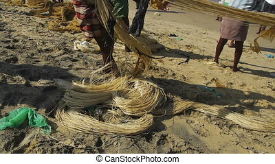 Fishermen pulling a fishing net