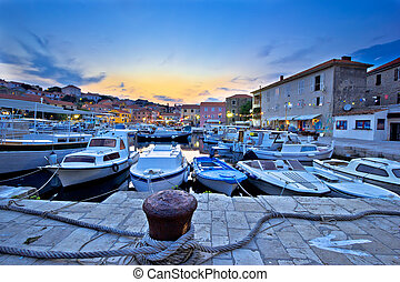 Fishermen village of Sali on Dugi otok island vening view, Croatia
