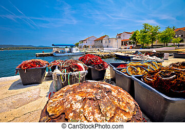 Fishermen village of Veli Rat waterfront view, Dugi Otok island, Dalmatia, Croatia