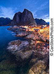 Fishermen's cabins in the Hamnoy village at night, Lofoten...