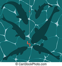 Fishes and a worm on a fish hook underwater vector...