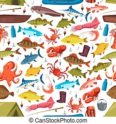 Fishes and mollusks fishing vector seamless pattern