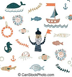Fishes and sea food seamless pattern - nice design