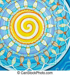 Fishes and sun, subaquatic mandala painting