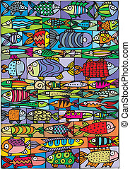 fishes background - illustrated beautiful fish as...