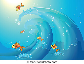 Fishes dancing along the big waves - Illustration of the...