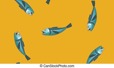 Fishes falling background HD animation - Fishes falling over...