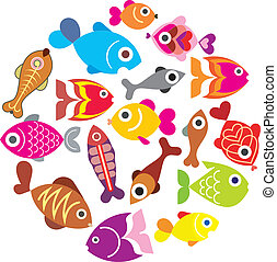 Fishes - Ornamental aquarium fishes - isolated vector icons...