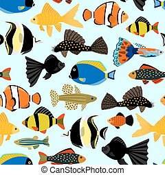 Fishes seamless pattern. Cute cartoon aquarium fish animals background for kids vector illustration print
