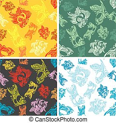 Fishes seamless pattern set - vector illustration