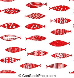 Fishes seamless pattern vector illustration