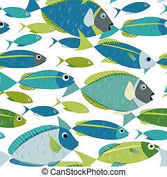 Fishes shoal swimming seamless pattern