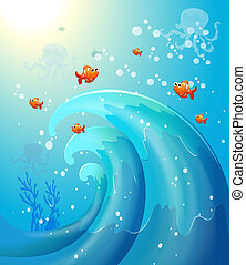 Fishes under the sea - Illustration of the fishes under the...