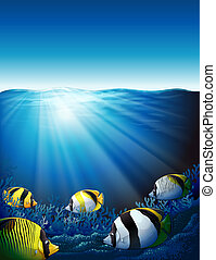 Fishes under the sea with sunlight - Illustration of the...