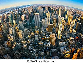 fisheye, antena, panoramiczny prospekt, na, nowy york