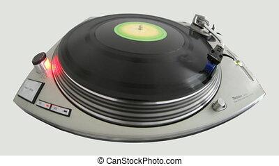 fisheye close-up of a dj record player
