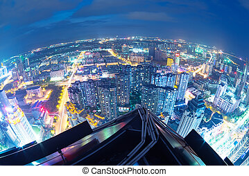 Fisheye Lens view of City skyline at night