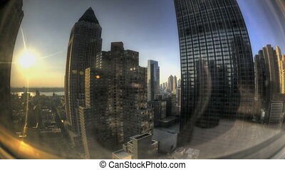 HDR Timelapse Fisheye View through Skyscraper Window