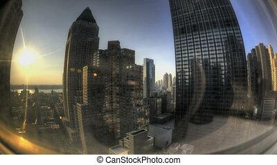 Fisheye NYC Windowview - HDR Timelapse Fisheye View through...