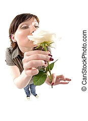 Fisheye portrait of woman smells rose - Fisheye studio...