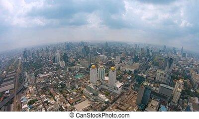 Fisheye Shot of a Sprawling Metropolitan City from High Above