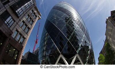 Fisheye time lapse footage of The Gherkin building, London, ...